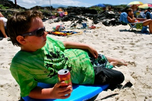 Cool kid chillin at the beach